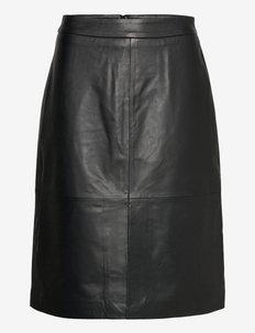 Raven leather skirt - midi skirts - black