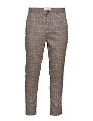 Linus Slim Check Pants - BROWN