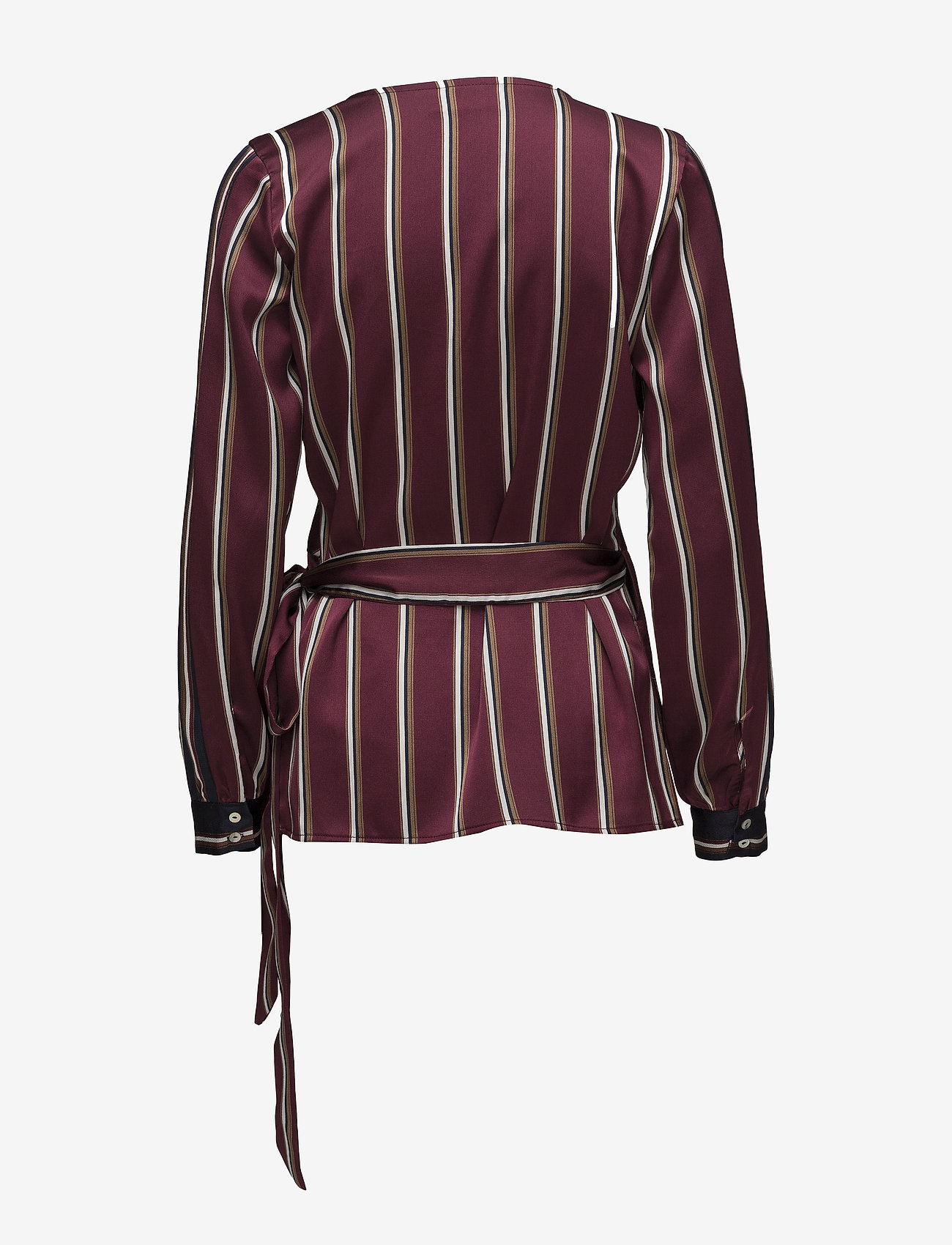 Kaffe - Kornelia Wrap Blouse - long sleeved blouses - zinfandel
