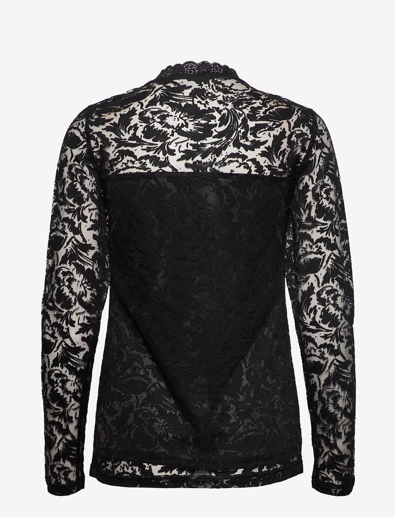 Kaffe - KAvilli Lace blouse - pitkähihaiset puserot - black deep