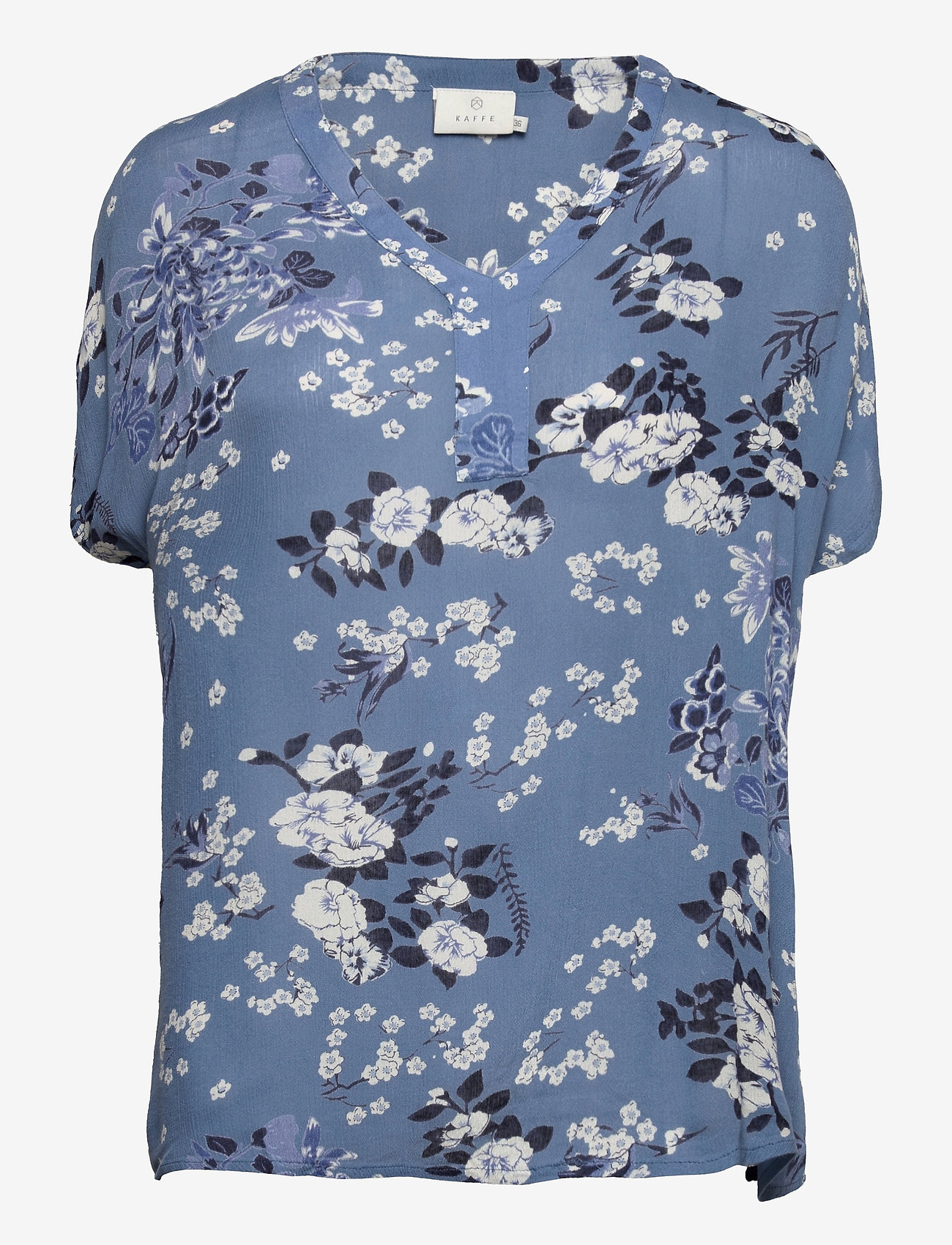 Kaffe - KAekua Amber Blouse - kortærmede bluser - blue tone flower print - 1
