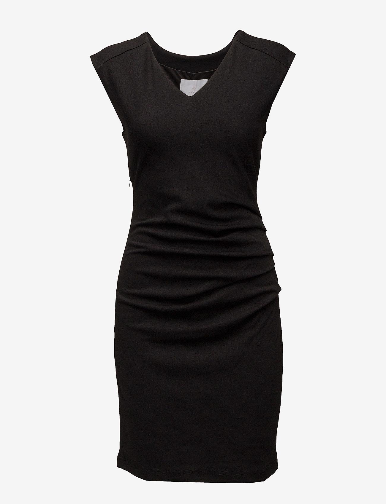 Kaffe - India V-Neck Dress - hverdagskjoler - black deep - 1