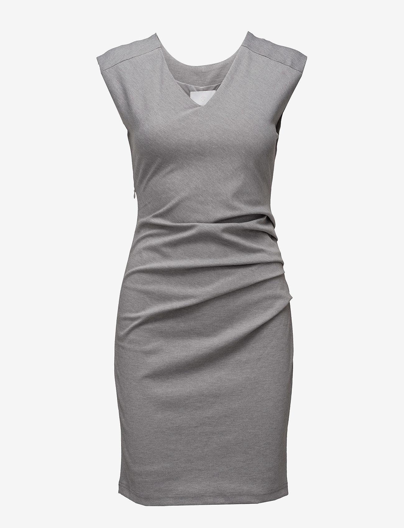 Kaffe - India V-Neck Dress - hverdagskjoler - grey melange - 1