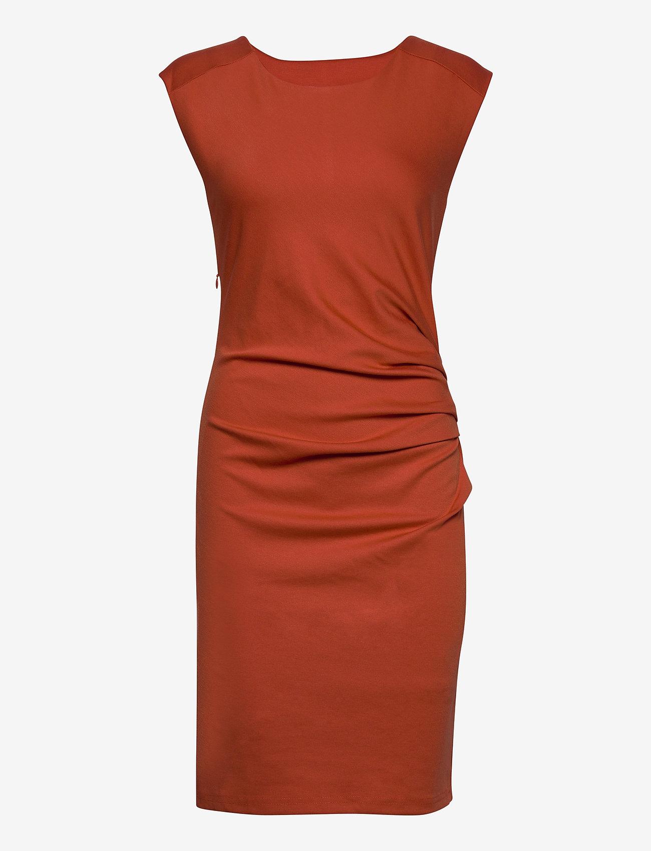Kaffe - India Round-Neck Dress - midi kjoler - chili - 0
