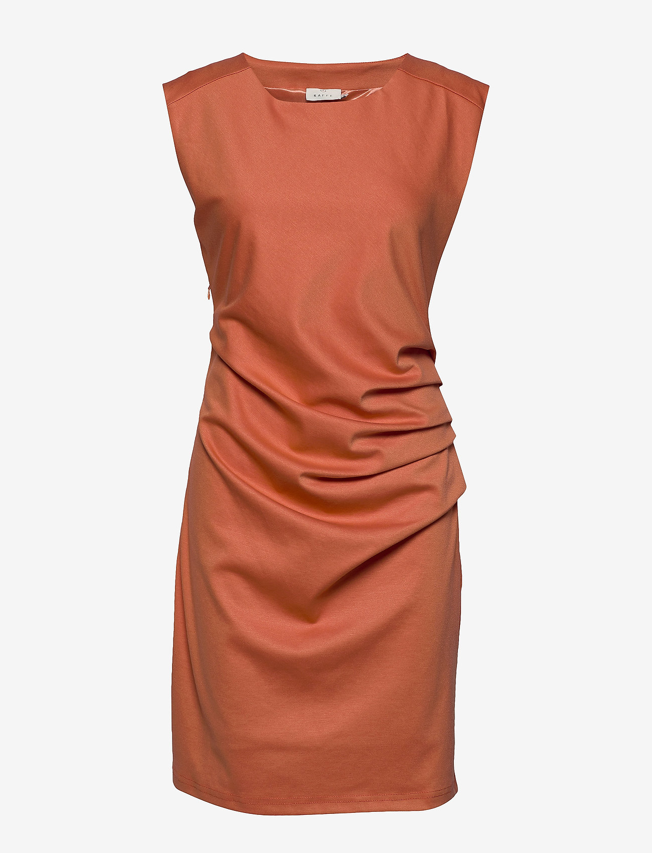 Kaffe - India Round-Neck Dress - midi kjoler - dull orange - 0