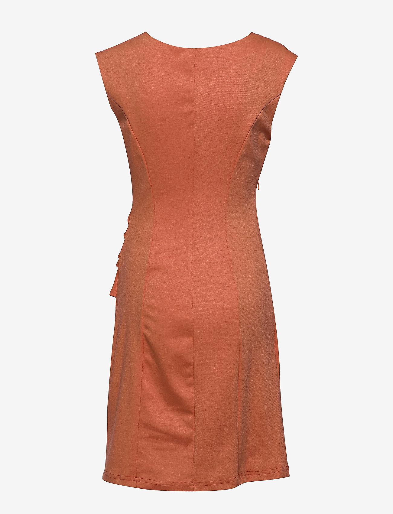 Kaffe - India Round-Neck Dress - midi kjoler - dull orange - 1