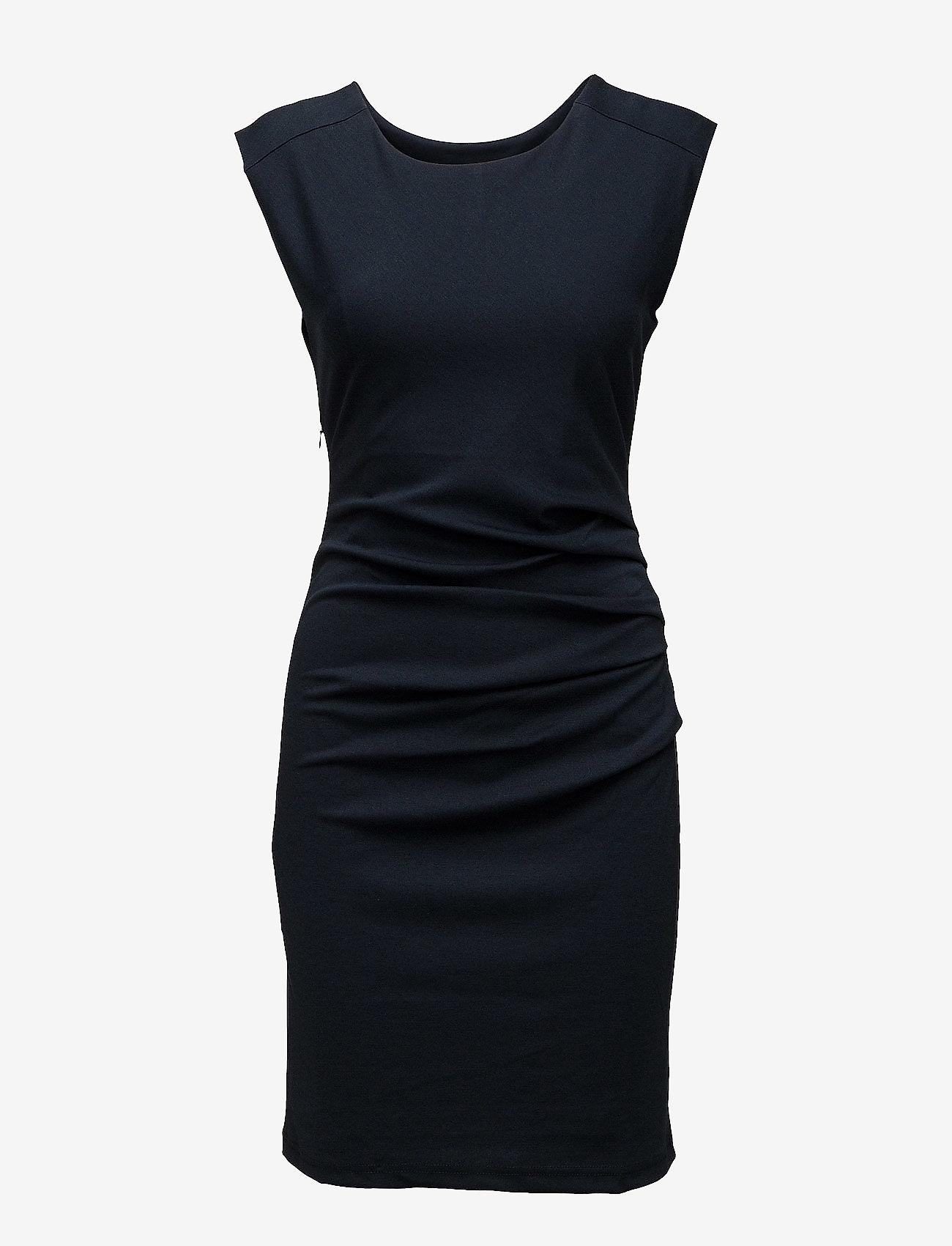 Kaffe - India Round-Neck Dress - midi kjoler - midnight marine - 1
