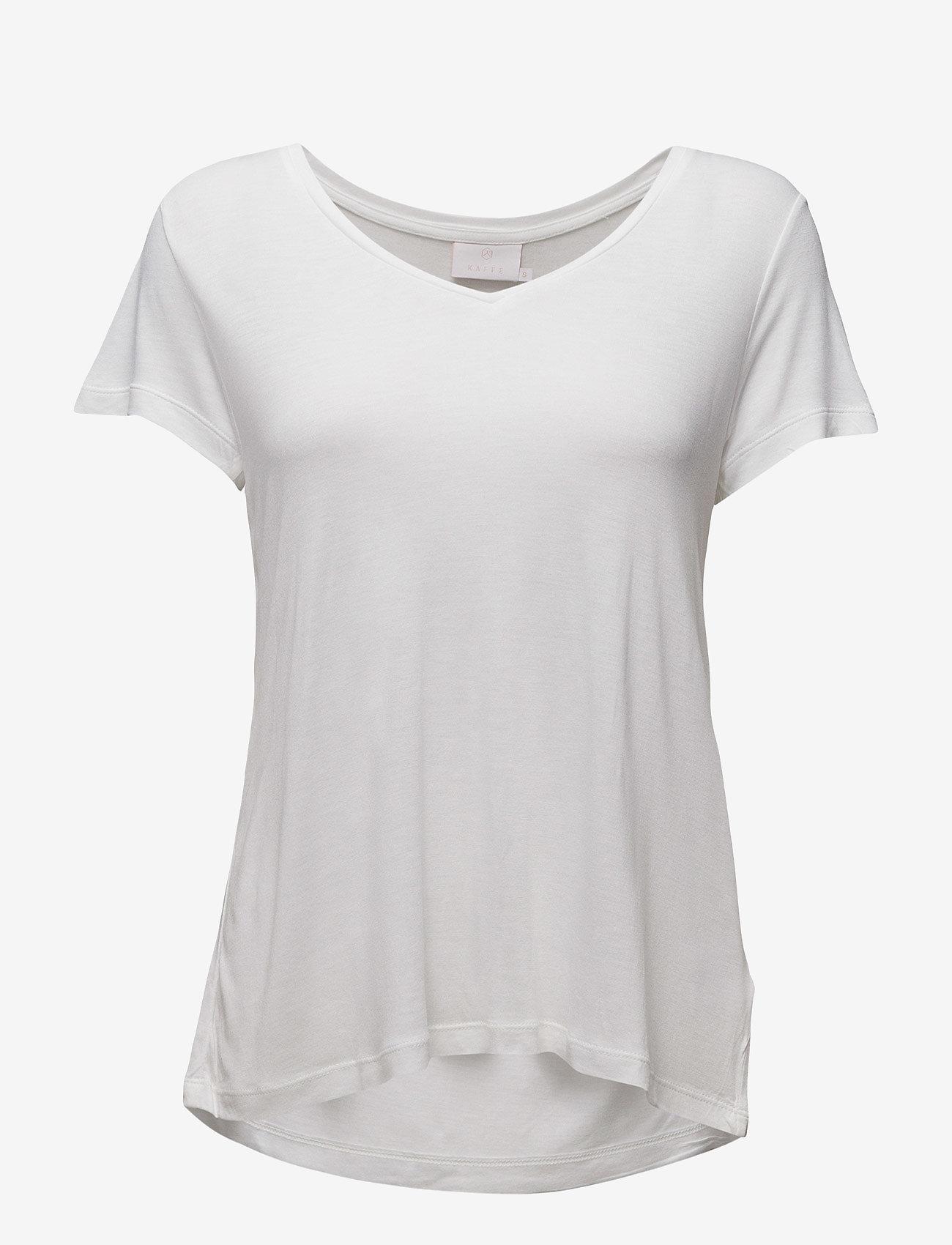 Kaffe - Anna V-Neck T-Shirt - t-shirts - optical white - 1