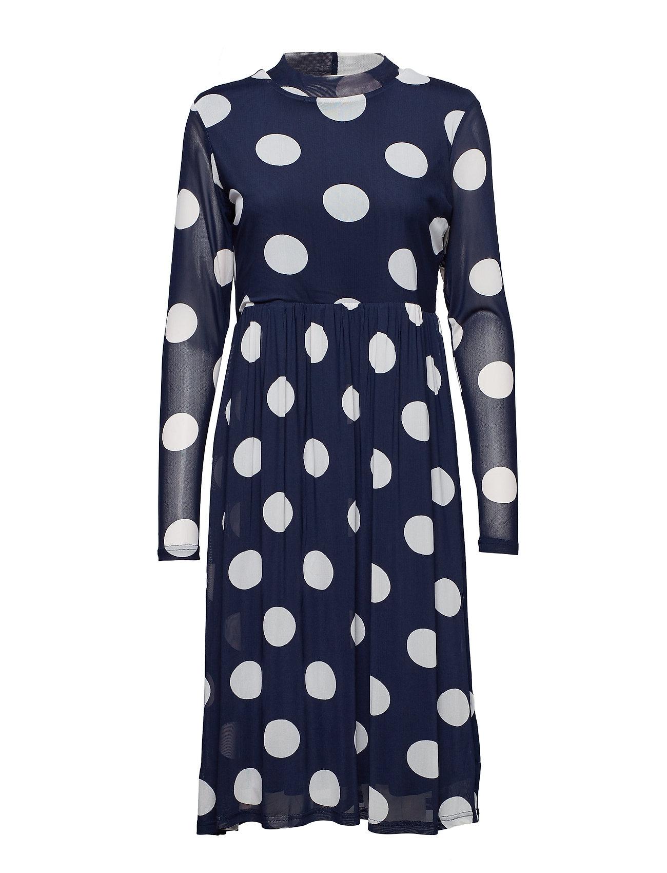 Kaffe Bobbie dot dress - MIDNIGHT MARINE / CHALK
