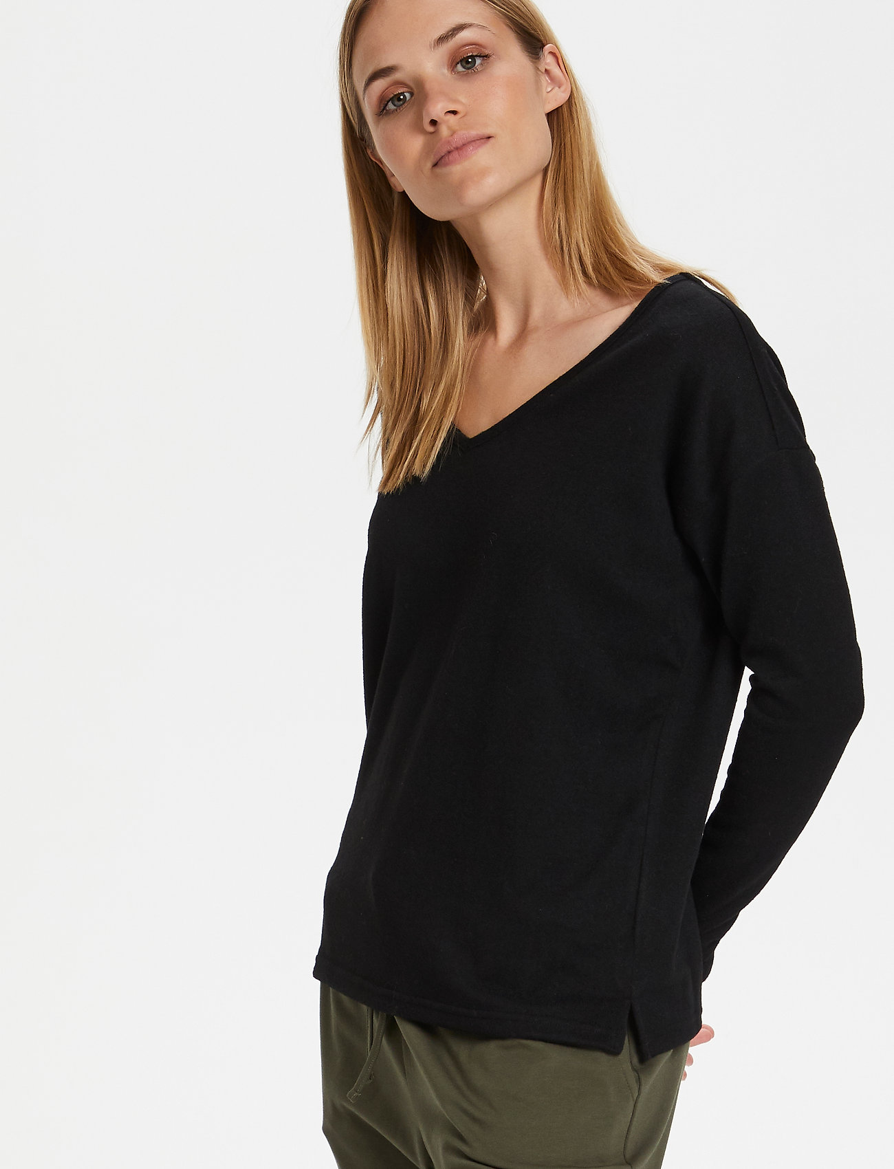 Kaffe - KAsiane V Neck Pullover - neulepuserot - black deep