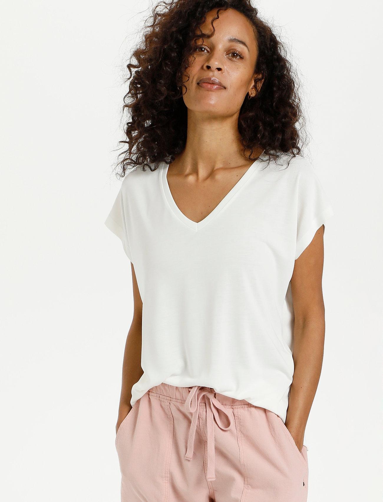 Kaffe - KAlise SS T-shirt - t-shirts - chalk - 0