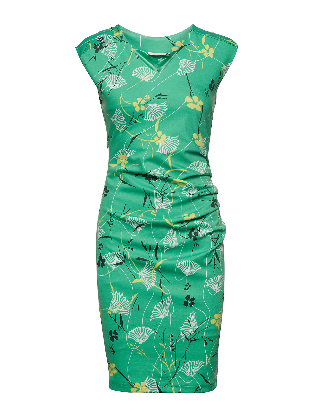Kaffe KAflora India V-Neck Dress - ISLAND GREEN