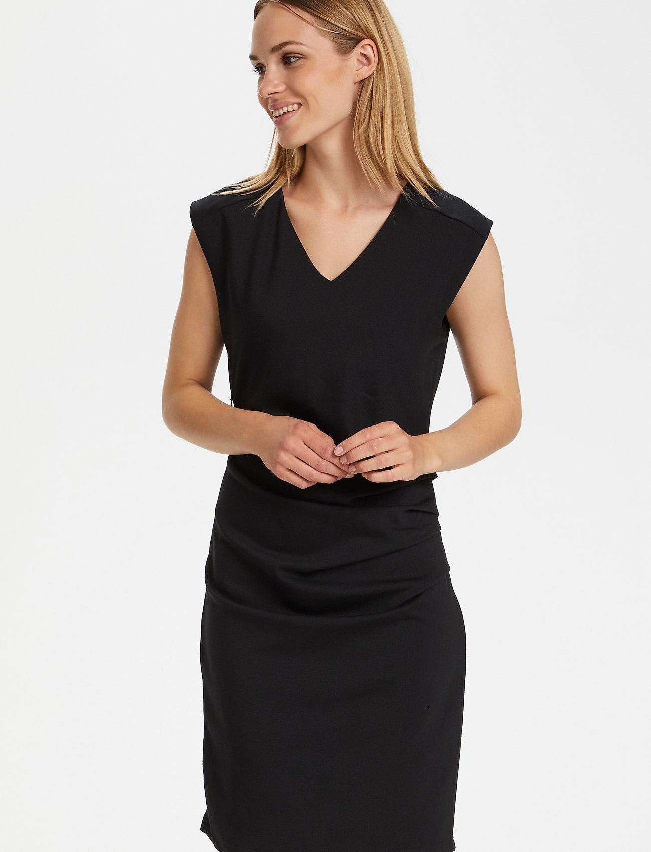 Kaffe - India V-Neck Dress - hverdagskjoler - black deep - 0