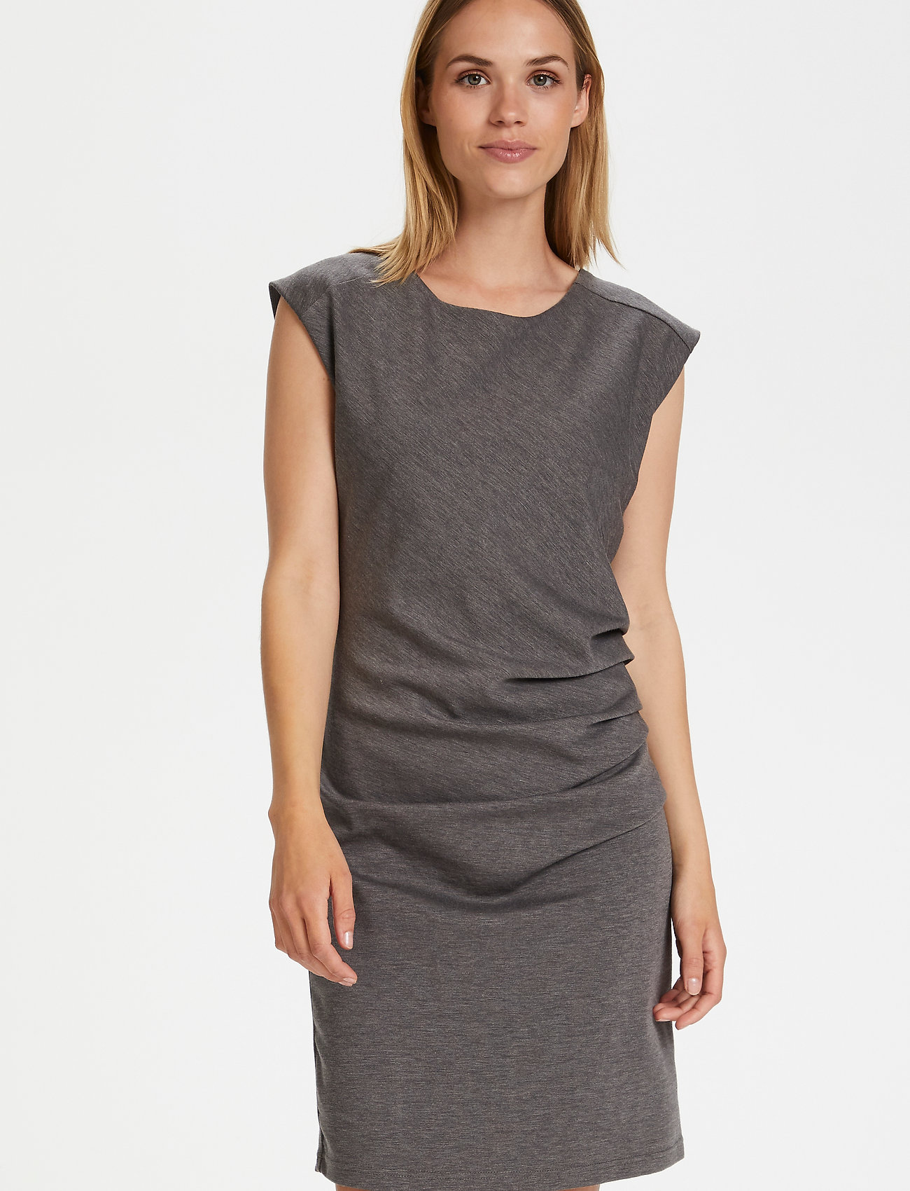 Kaffe - India Round-Neck Dress - midi kjoler - dark grey melange - 0