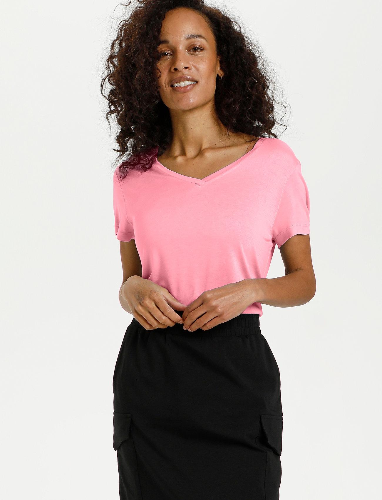Kaffe - Anna V-Neck T-Shirt - t-shirts - candy pink - 0
