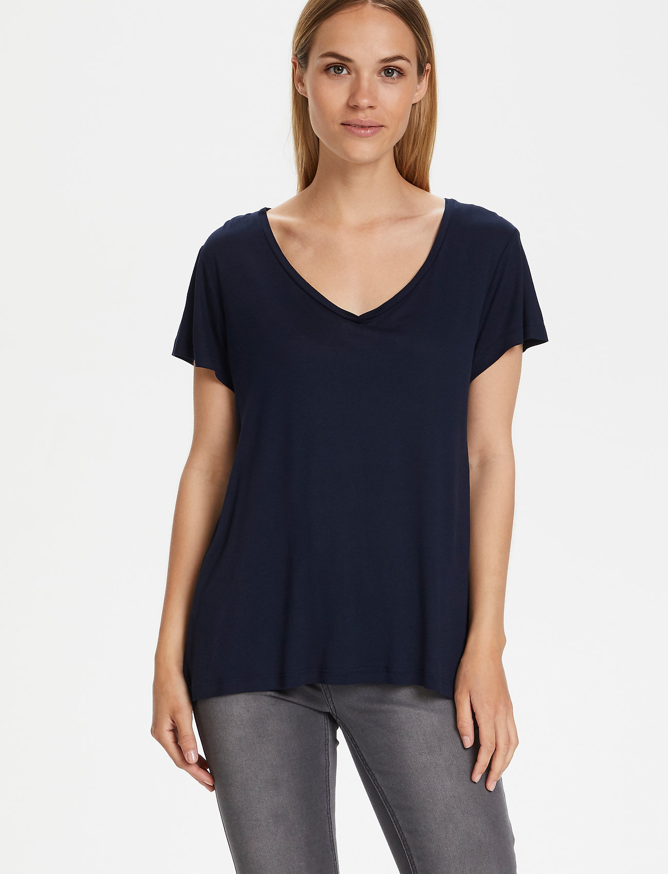 Kaffe - Anna V-Neck T-Shirt - t-shirts - midnight marine - 0