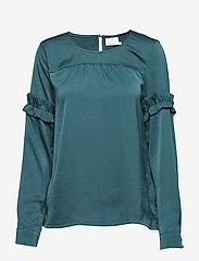 Kaffe - Vitta Blouse - long sleeved blouses - rain forest - 0