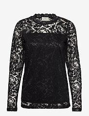 Kaffe - KAvilli Lace blouse - pitkähihaiset puserot - black deep - 0