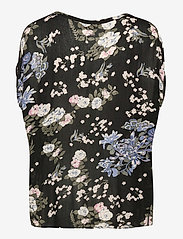 Kaffe - KAekua Amber Blouse - kortærmede bluser - black multi color flower print - 2