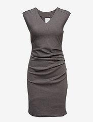 Kaffe - India V-Neck Dress - hverdagskjoler - dark grey melange - 1