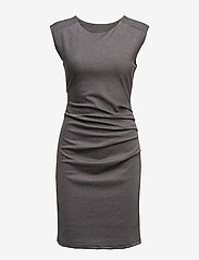 Kaffe - India Round-Neck Dress - midi kjoler - dark grey melange - 1