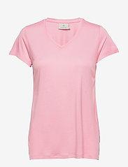Kaffe - Anna V-Neck T-Shirt - t-shirts - candy pink - 1