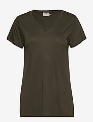 Kaffe - Anna V-Neck T-Shirt - t-shirts - grape leaf - 0