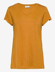 Kaffe - Anna V-Neck T-Shirt - t-shirts - inca gold - 0