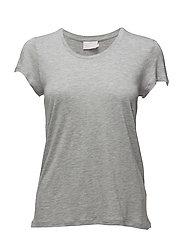 Anna O-Neck T-Shirt- MIN 16 - LIGHT GREY MELANGE