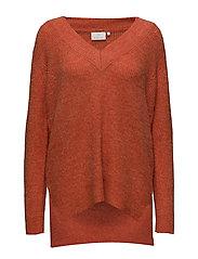 Wenche V-neck Pullover - PUREED PUMKIN