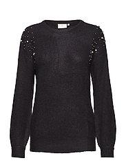 Cammi Rib Knit Pullover - BLACK DEEP