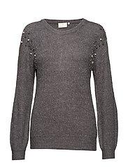Cammi Rib Knit Pullover - DARK GREY MELANGE