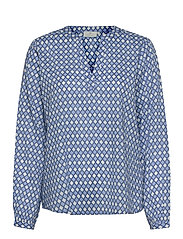 KAsary Tilly Blouse - LIGHT BLUE DIAMOND PRINT
