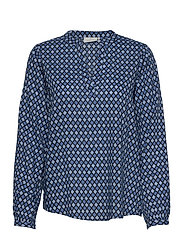 KAsary Tilly Blouse - BLUE-TONE DIAMOND PRINT