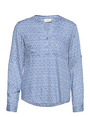 KAmaly Blouse - BLUE TONE GRAPHIC FLOWER