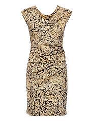 KAesta India Dress SL. - BLACK / YELLOW LEAF
