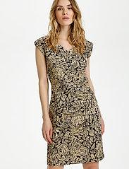 Kaffe - KAesta India Dress SL. - sommerkjoler - black / yellow leaf - 0