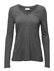 Anna T-shirt L/S- MIN 2 - DARK GREY MELANGE