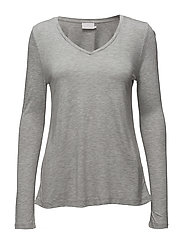 Anna T-shirt L/S- MIN 2 - LIGHT GREY MELANGE