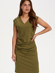 Kaffe - India V-Neck Dress - hverdagskjoler - capulet olive - 0