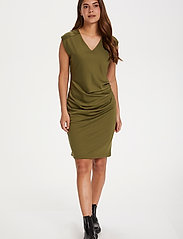 Kaffe - India V-Neck Dress - hverdagskjoler - capulet olive - 3