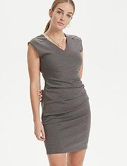Kaffe - India V-Neck Dress - hverdagskjoler - dark grey melange - 0