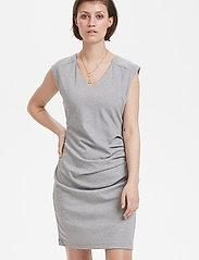 Kaffe - India V-Neck Dress - hverdagskjoler - grey melange - 0