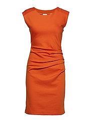 India Round-Neck Dress - BURNT ORANGE