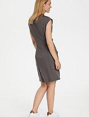 Kaffe - India Round-Neck Dress - midi kjoler - dark grey melange - 3