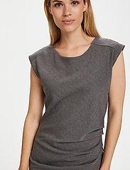 Kaffe - India Round-Neck Dress - midi kjoler - dark grey melange - 4