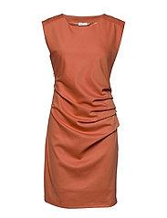 India Round-Neck Dress - DULL ORANGE
