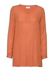 Amber V-Neck Tunic - DULL ORANGE