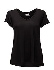 Anna V-Neck T-Shirt - BLACK DEEP