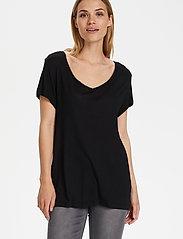 Kaffe - Anna V-Neck T-Shirt - t-shirts - black deep - 4